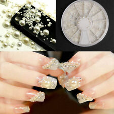 3D White Nail Art Tips Pearl Acrylic Gem Glitter Manicure DIY Decoration Wheel