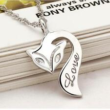 sterling silver fox love pendant 925 chain gift fire sexy foxy charm necklace UK