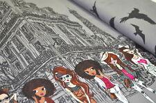JERSEY 50cm x 1,50m KINDER DAMEN MÄDCHEN PARIS GIRLS VÖGEL EIFELTURM GRAU