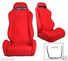 2 Red Cloth Racing Seats RECLINABLE W/ SLIDERS Fit For Ford Mustang