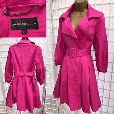 Marks & Spencer Pink Swing Trench Coat Size 8 (10) Fit Flare Spring Cotton 148