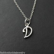 Tiny Initial Letter D Necklace - 925 Sterling Silver - Name D Letter Charm NEW