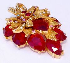 Signed Art Red Rhinestone Floral Brooch  Rare & Mint