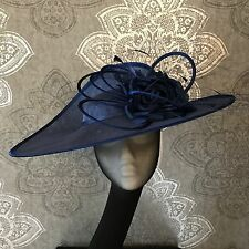 Ladies Wedding Hat Bnwt Ss17 Motb Ascot Aintree Fascinator Navy Marine Blue
