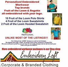 Fruit of the Loom EMBROIDERED POLO SHIRT WORKWEAR PACK 5 FREE Digitized logo