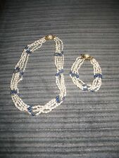 FRESHWATER PEARL WITH BLUE & GOLD BEAD ACCENTS 5 STAND NECKLACE WITH MATCHING BR