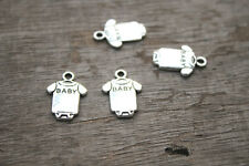 40pcs--Baby clothes Charms silver Baby romper charm pendants 17x12mm