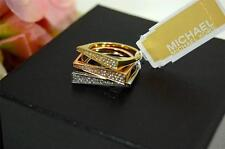 New in Bag Michael Kors 3 Tone Gold Rose & Silver Crystal Stackable Rings Size 7