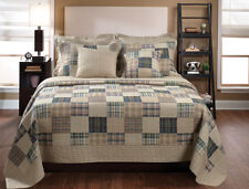 OXFORD 3p Full/Queen Quilt Set Madras Plaid Teen Boy Blue Tan Collegiate Varsity