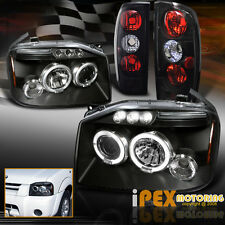 For 2001-2004 Nissan Frontier Halos Projector LED Black Headlights + Tail Lights