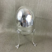 Vintage Silver Plated Egg Shaped Box Pot & Display Stand Engraved Easter Gift