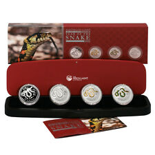 Australia Year of the Snake 4 Coin Type Set 2013 Silver Crowns Perth Mint Lunar