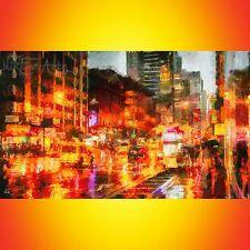 Nik Tod original pintura Grande Arte Firmado Raro urbano lloviendo noche en la ciudad de Reino Unido