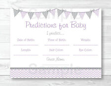 Purple & Grey Chevron Baby Shower Baby Predictions Game Cards Printable