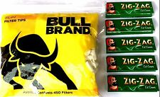 Bull Brand 450 SLIM Filter Tips and 5 x Zig Zag Green Tobacco Cig Rolling Papers