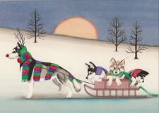 Christmas cards: Siberian husky family takes holiday sled ride / Lynch folk art