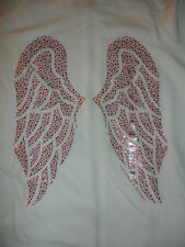 NWT VICTORIA'S SECRET PINK SWEAT SHIRT HOODIE TOP size M WHITE ANGEL WINGS BLING