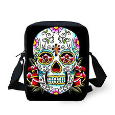 Floral Skull Head Women's Cool Shoulder Bag Handbag Purse Cross body Satchel