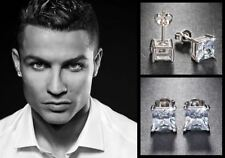Men S Boy Ronaldo 8mm Square 18ct White Gold Plated Diamond Crystal Earrings