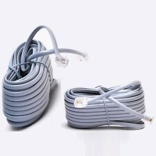 Lot100 25ft RJ11 Modular 6P4C 4wire Phone/Telephone Line Flat Cord/Cable{SILVER