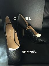 2016 NeW CHANEL CC Classic Quilted Black Leather Logo Pumps Heels Shoes 37 6.5