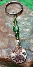 Personalized Beaded Hand-Stamped Irish Shamrock clover BLESSED - PENNY Key Ring