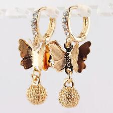 Fashion 9k Gold Filled Butterfly Austrian Crystal Hoop Earrings Jewelry A086