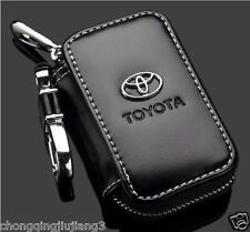 Genuine Leather cowhide Car Key Holder Keychain Ring Bag For TOYOTA