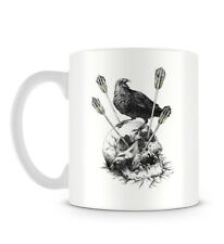 Skull Illustration with Black Crow Bird and Arrows Mug