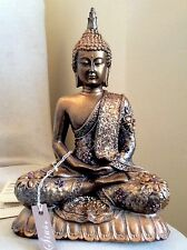 Unique Meditation Buddhas Statue. Adorned In AMETHYST  Swarovski Elements