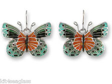 Zarah Zarlite Satinwing BUTTERFLY EARRINGS Enamel Silver Plated Dangle  Gift Box
