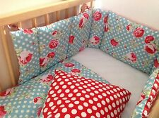 Cushi cots cot bumper and duvet girls large bloom rose with polka dot