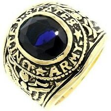 18K EP GOLD  US ARMY MILITARY INLAY RING sz 14 SAPPHIRE