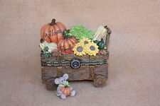 Boyds Bears Resin Ashtons Harvest Wagon with Pumpkin McNibble Fall Treasure Box
