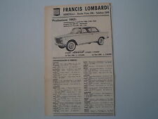 advertising Pubblicità 1963 FRANCIS LOMBARDI COUPE' SMART SU FIAT 1300