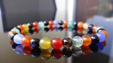 """Genuine Multi Color AGATE bead bracelet for MEN On Stretch AAA Quality 6mm - 8"""""""