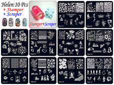 10×Manicure Template Nail Art Printing Polish Stamp Plate Scraper Stamper Kit S7