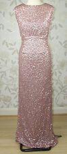 £199 BNWT Jenny Packham CARRIE All Over Pink Sequin Long Evening Dress Size 16