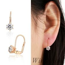 Lady 18K Rose Gold GF 6 Claws Faceted CZ Zircon Leverback Earrings Jewelry