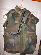 Woodland Camo Flak Jacket / Protective Vest w/ Booklet. Size  Small, with belt
