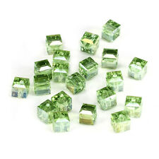 20pcs green ab 6mm Faceted Square Cube Cut glass crystal Spacer beads