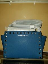 MICHAEL KORS Selma Stud Steel Blue Medium Messenger Saffiano Leather NWT