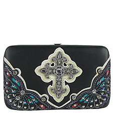 BLACK RHINESTONE CROSS WESTERN FLAT THICK WALLET CLASP BLING BRAND NEW