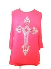 Burgundy Red Studded Cross Nakid open Shoulder Stretch Top T-Shirt - 8 10 12 14