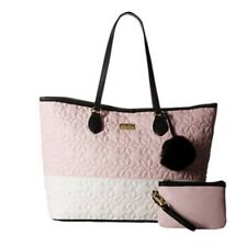 Betsey Johnson Quilted Daisy Blush & Cream Tote Satchel Bag NWT Authentic