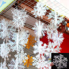 30Pcs Classic White Snowflake Ornaments Christmas Holiday Party Home Decor KY
