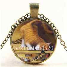 Vintage Cat Look At The Mouse Cabochon Glass Bronze Chain Pendant  Necklace