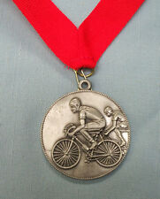 BMX  racing silver medal red neck ribbon trophy