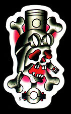 Hot Rod Sticker Skull Drag Race Motorcycle Kustom Kulture Tattoo