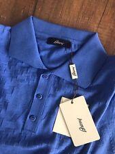 Brioni Knitwear Informal Mangas Cortas Camisa Polo Color Blanco Azul Talla XL Nuevo